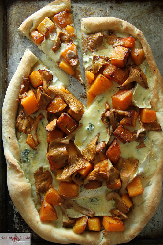 Butternut Squash, Chantrelle and Brie Pizza