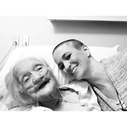 She laughed when she saw me and called me baldy, so I wore my raccoon hat with ears to really make her giggle. Surrounded by family she's full of life. #99years #forgranny