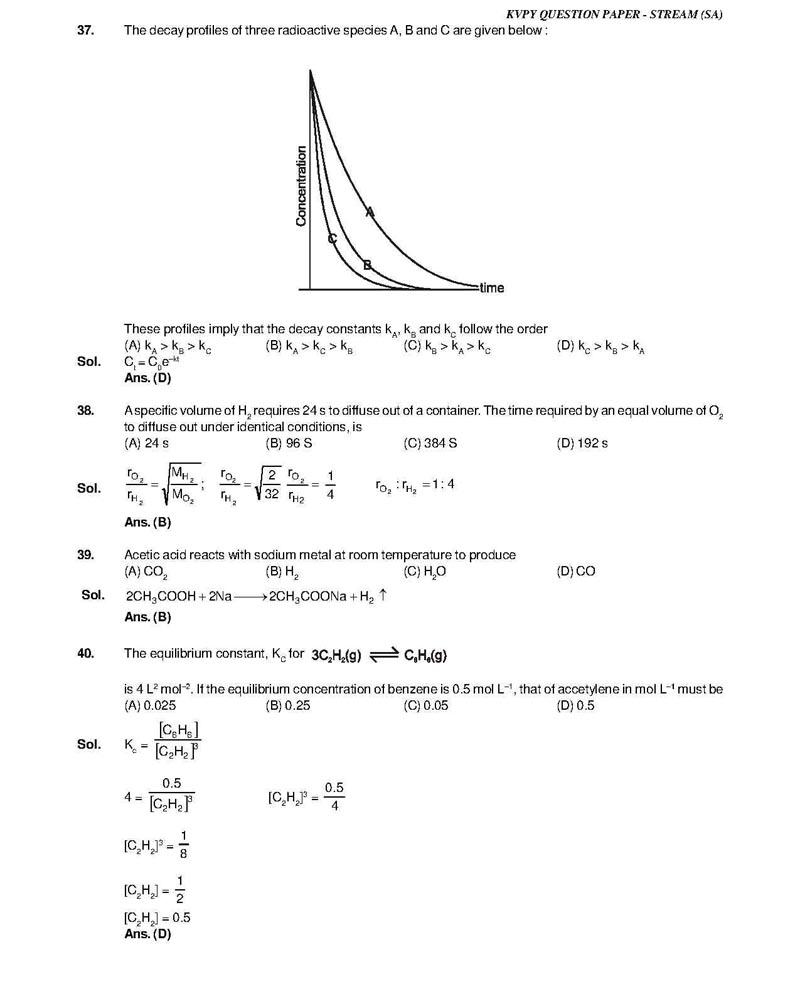 KVPY 2013 SA Question Paper Solutions