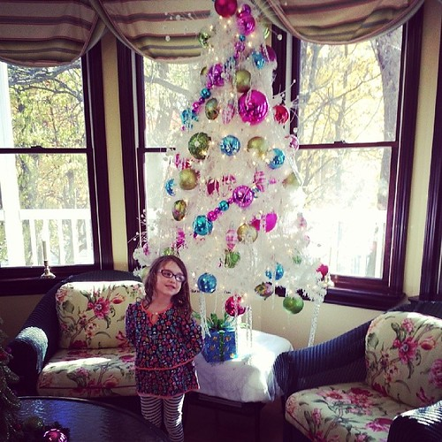 Teagan and the white Christmas tree