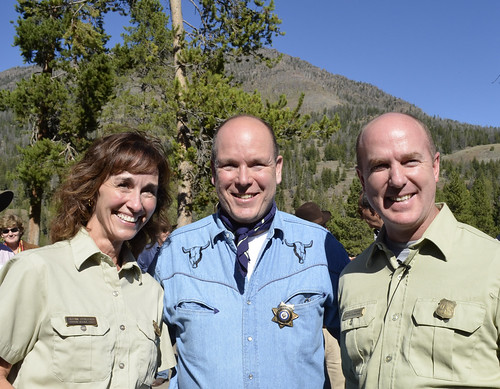 Prince Albert II of Monaco poses in between Wapiti District Ranger Sue Stresser and Shoshone Forest Supervisor Joe Alexander. (U.S. Forest Service/ Kristie Salzmann)