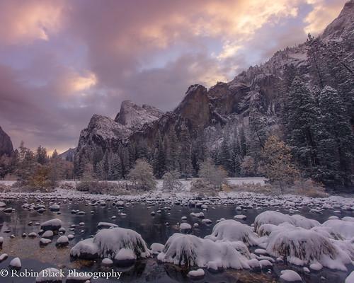 Snowy Bridalveil Sunrise (Yosemite National Park)