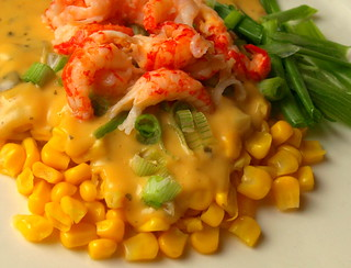 Crayfish Tails with Sweetcorn and Smokin' Cheese & Jalapeno Sauce