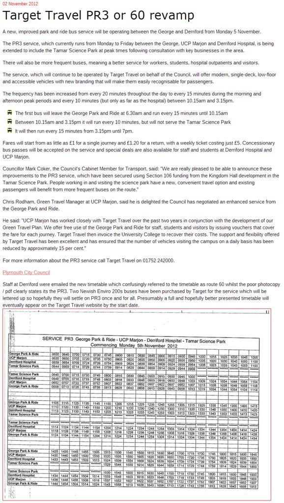 Plymothian Transit  Target Travel PR3 or 60 revamp
