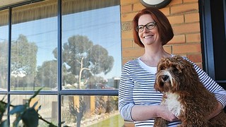 Julia Gillard with Reuben at her Altona House