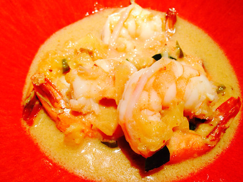 Red curry pineapple shrimp