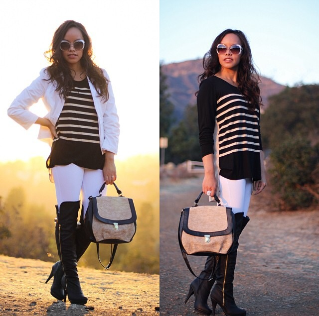 Striped top, white blazer, white leggings, black over the knee boots, satchel