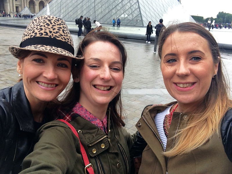 Group selfie at the Louvre