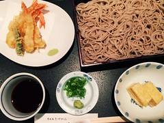 Cold noodles with tempura set eaten in Tokyo