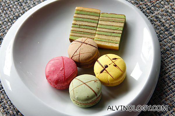 Assorted macaroons and kueh lapis