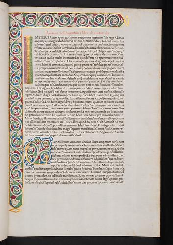 Illuminated white vine stem border in Augustinus, Aurelius: De civitate dei