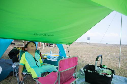 琵琶湖で湖水浴