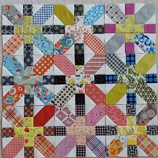 @juneauwendy  I knew this would happen---made your two blocks, got hooked and had to make some for myself! Perfect timing, however,  for the #denyseschmidtcharmswap squares that @craftytammie delivered recently! #xplusalong