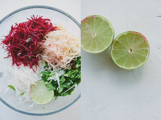 kohlrabi, beetroot + apple salad with parsley + lime