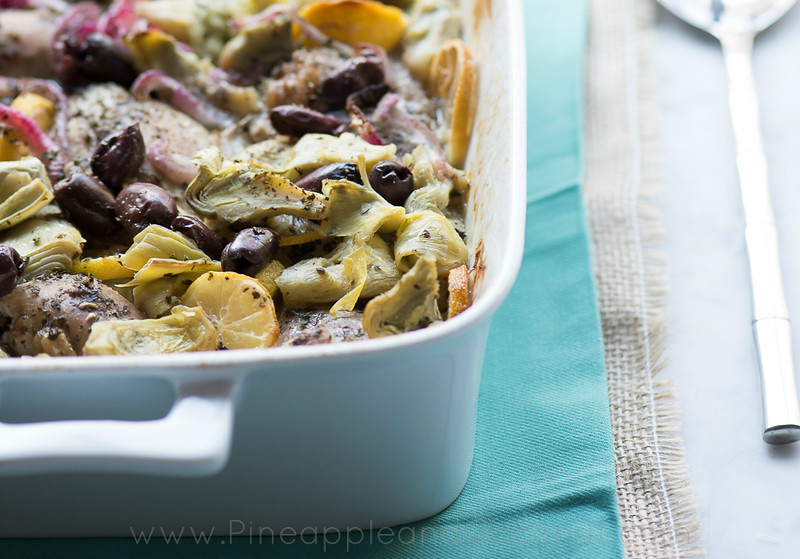 Roasted Lemon Chicken Thighs with Artichokes and Kalamata olives www.pineappleandcoconut.com