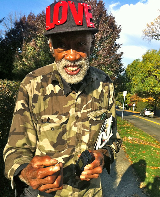 Veteran wears LOVE cap