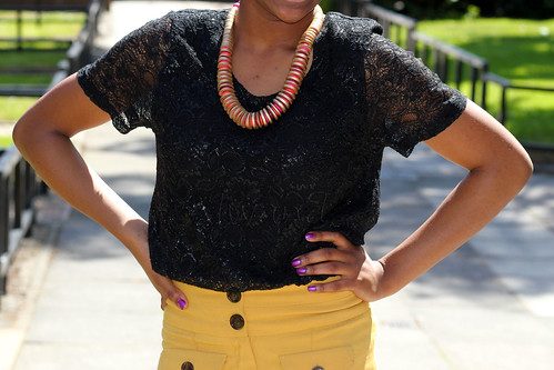 High waist pants with wide legs & lace blouse: Street style