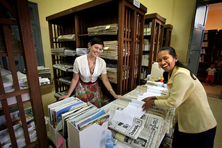 Sorting and cataloguing – australian volunteer Louise Barber with Chack Tuoch from the National Library of Cambodia. 2005. Photo: Kevin Evans
