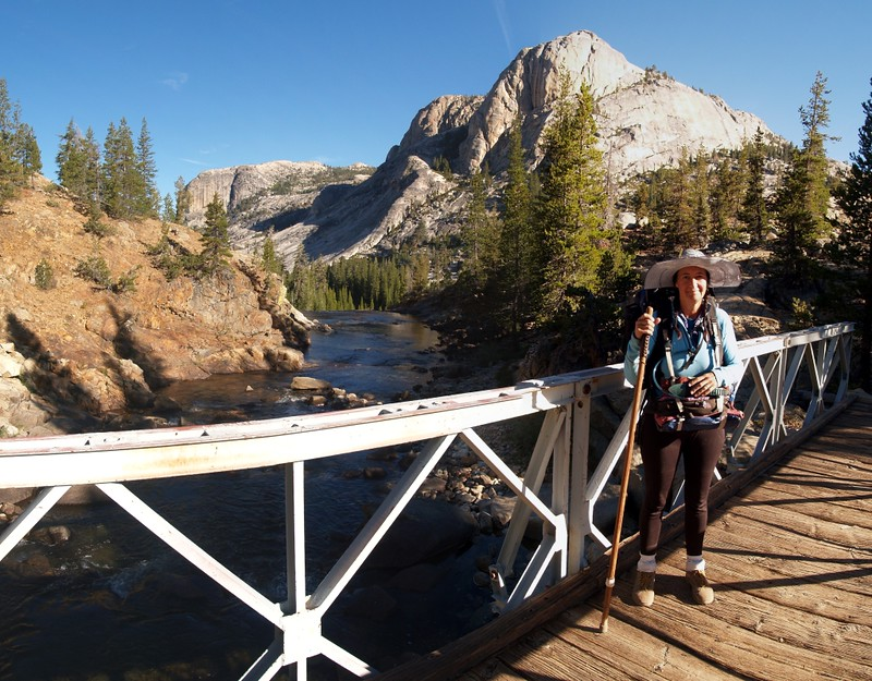 Standing on the metal bridge over the Tuolumne River in Glen Aulin