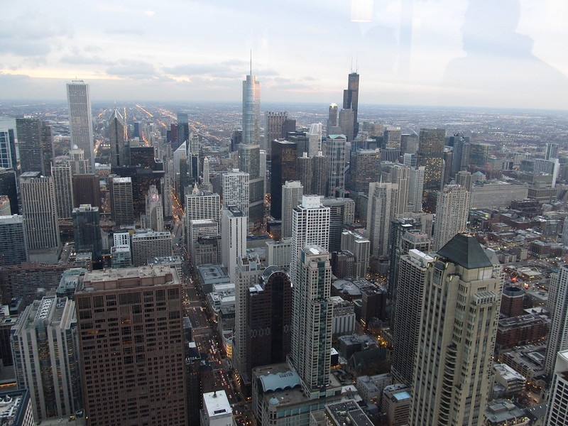 Looking South from John Hancock Center Observatory, Chicago, Illinois