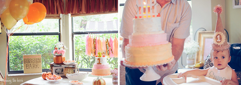pumpkins pink gold birthday party; homemade diy 3 tiered birthday cake