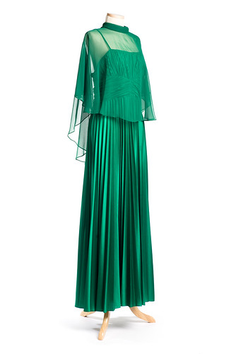 Dark green polyester evening dress with nylon chiffon cape