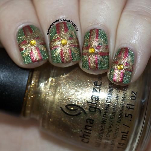 Christmas Present nail art