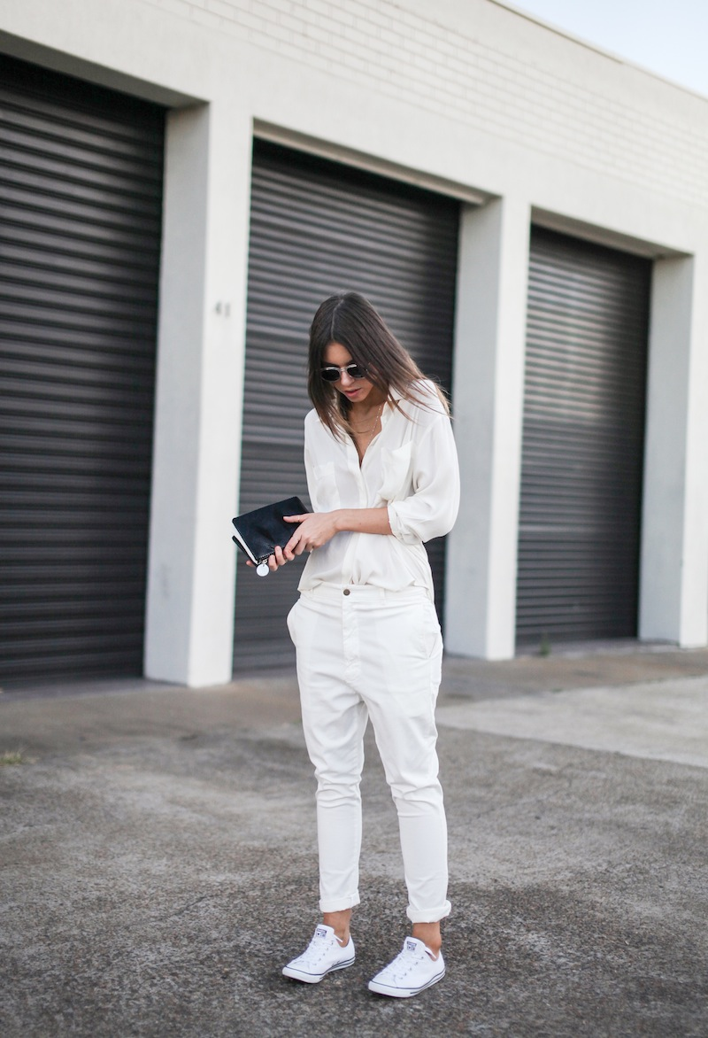 modern legacy fashion style blogger australia Camilla Marc silk shirt Bassike slouch pants Witchery snakeskin clutch Comverse Dainty All Star trainers Sambag sunglasses summer street style (2 of 10)