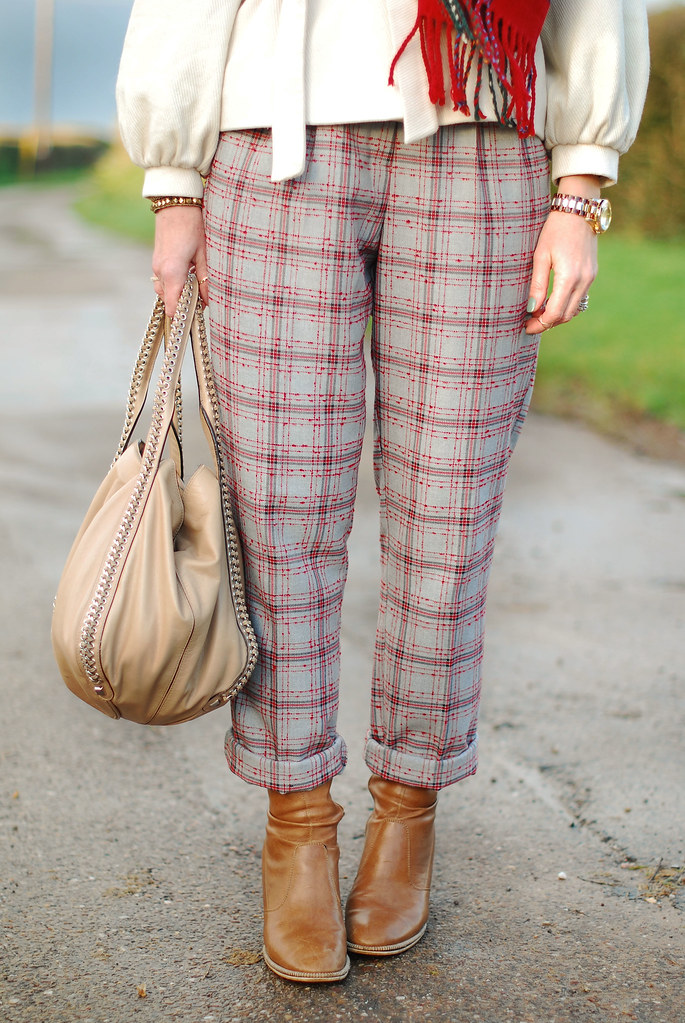 Tartan trousers, white coat, tan boots