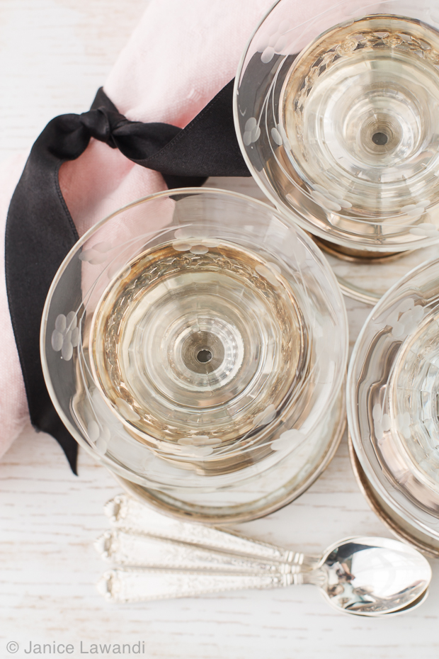 antique stirling silver and glass sorbet cups | kitchen heals soul