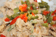 Chicken,spring onion,chopped bell peppers and mayo…