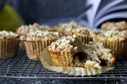pear, hazelnut and chocolate chunk muffins