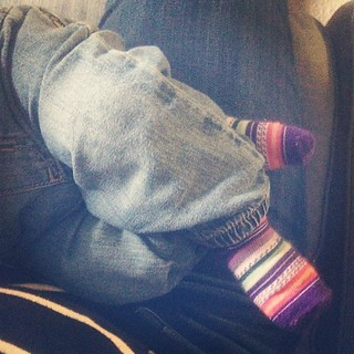 Sleeping baby feet. Thanks for the socks, @misterandmisseskeeny!