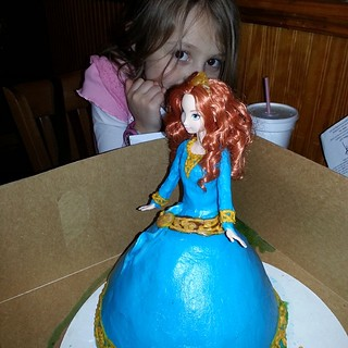 The birthday girl with the birthday cake!