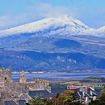 HARLECH CASTLE AND SNOWED-ON MOUNTAINS
