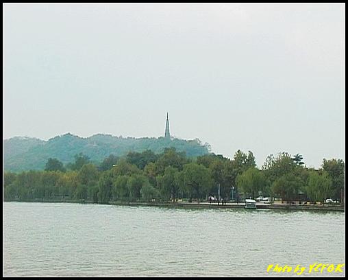 杭州 西湖 (其他景點) - 072 (湖濱路的湖畔看杭州地標 保淑塔)