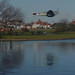 Small photo of A low pass over Fairhaven Lake