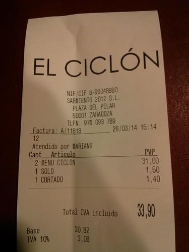Zaragoza | El Ciclón | Ticket