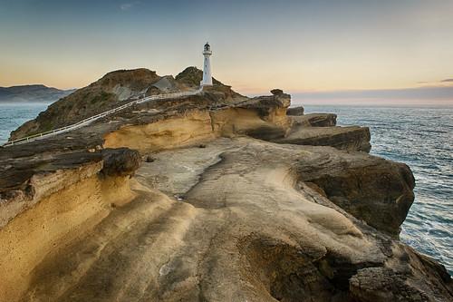 travel newzealand lighthouse seascape nature sunrise landscape dawn twilight scenery rocks outdoor nz castlepoint wairarapa rowansims nikond3s