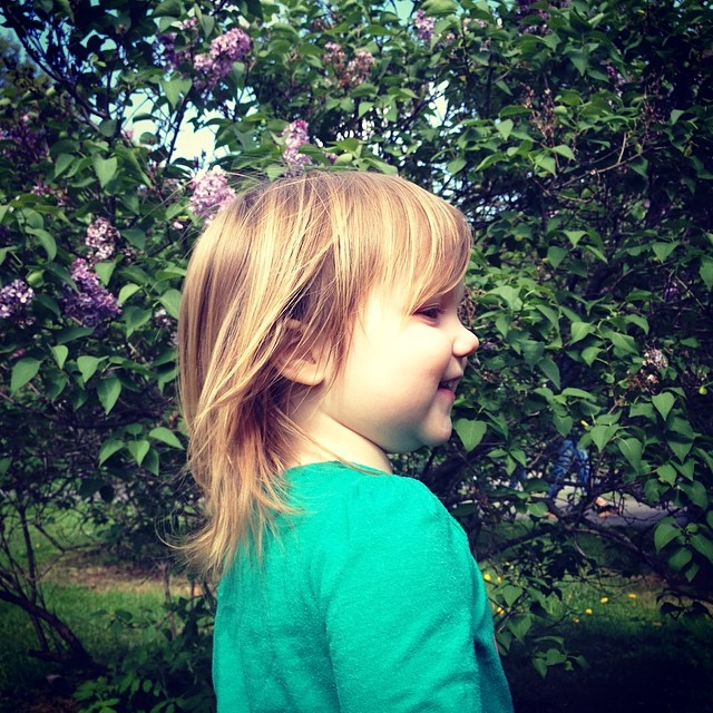 Enjoying the lilacs and the breeze :)