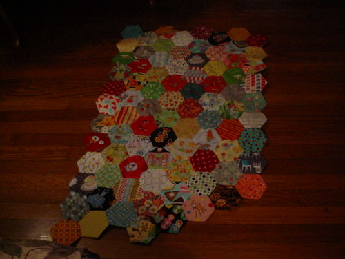 hexie quilt, July 2014