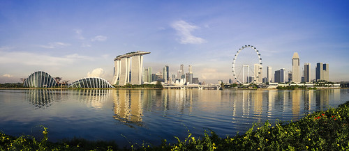 blue panorama reflection water marina sunrise landscape bay singapore asia day sony clear gardensbythebay singaporeflyer marinabaysands sonya7