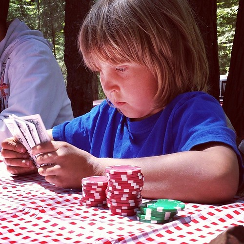Playing poker #7yearold #summer #boys #games #camping