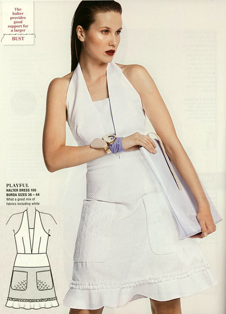 Burda-July-2014 White Apron Dress