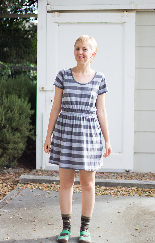 grey striped dress, green shoes