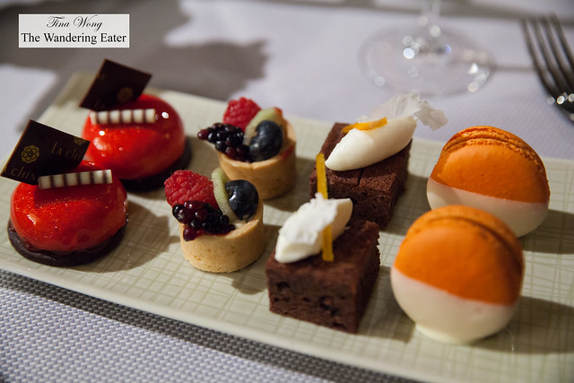 Dessert tier - Raspberry Cremeaux, Fruit tart, Chocolate financier, pumpkin spice macaron