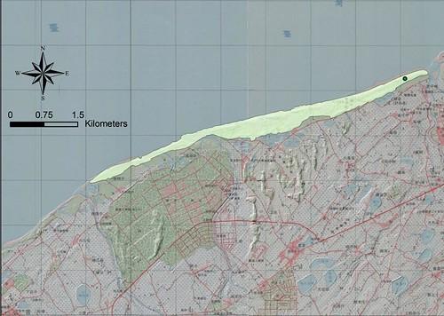 桃園草漯沙丘位置圖,圖片來源:台灣地景保育網。http://140.112.64.54/main.php