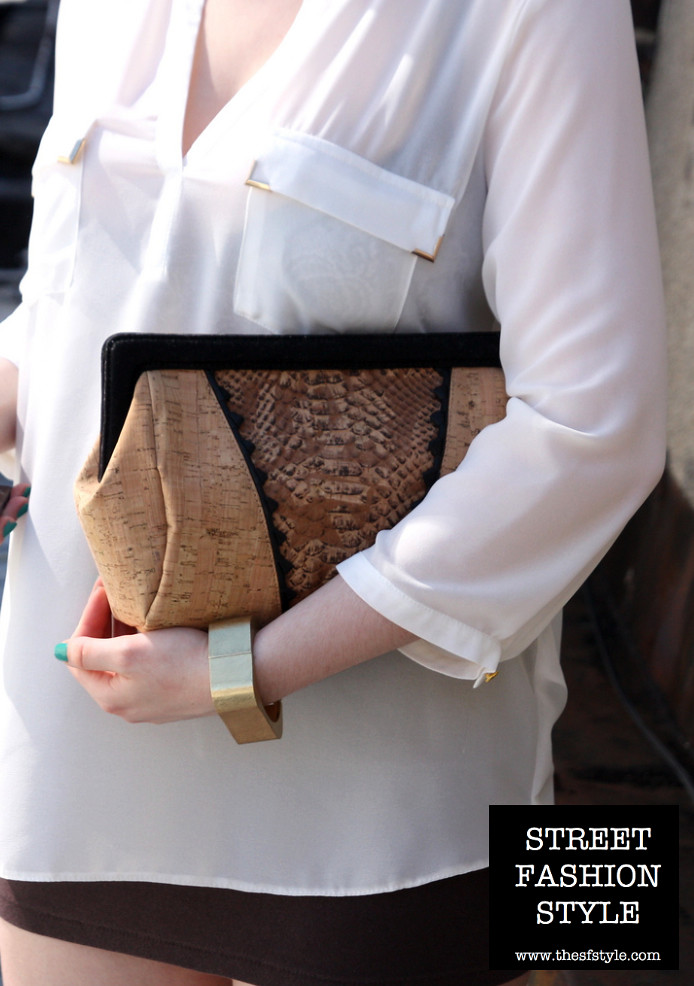 jess rizzuti, embossed cork, clutch, wallis blouse, shopsideways bracelet, thesfstyle, sfstyle, street fashion style, new york fashion blog,