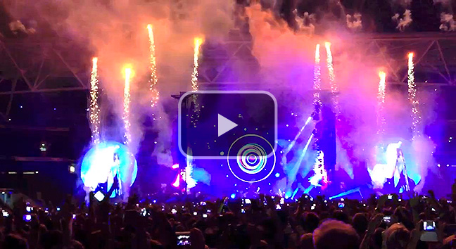 Coldplay perform 'Hurts Like Heaven' at Suncorp Stadium, Brisbane.