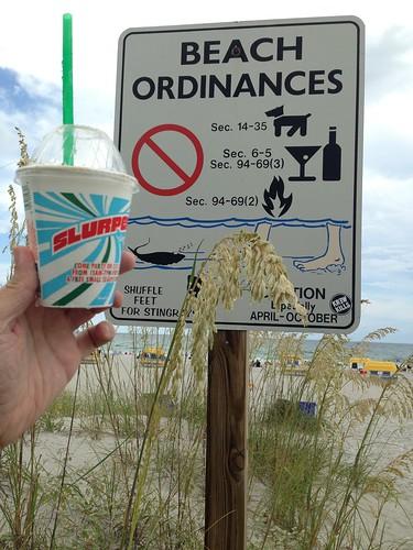 #711Day: Whew, #StPete Beach has no Ordinances against #Slurpee on the beach :) @7elevencares